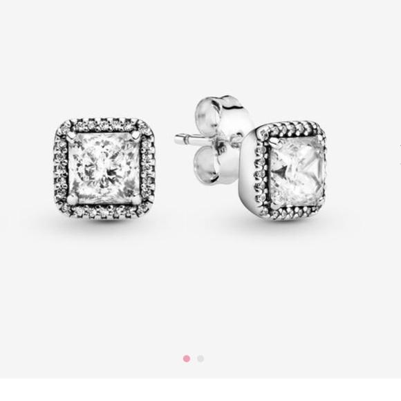 Pandora Jewelry Sale Pandora Square Sparkling Halo Stud Earrings Poshmark